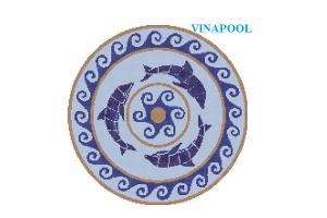 Gạch mosaic ghép hình 3 chú cá heo  MU-PD209